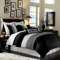 King Bedroom Sets : 8 Pieces Black White Grey Luxury Stripe ...